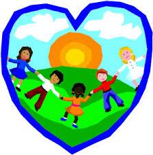 children dancing in a heart symbol